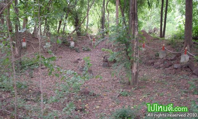 แสดงพื้นที่โบราณสถานที่ค้นพบ (ล้อมเป็นรั้วไว้)