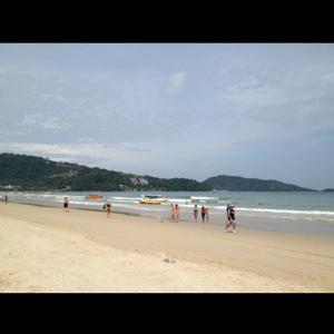 now on the beach