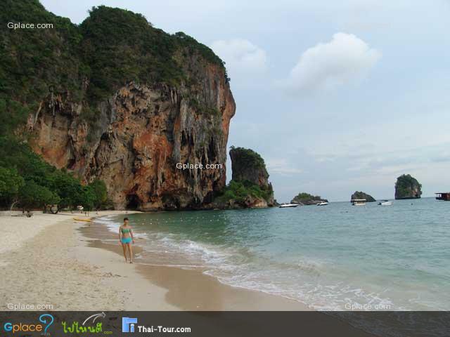 walking by bare feet along the beach...